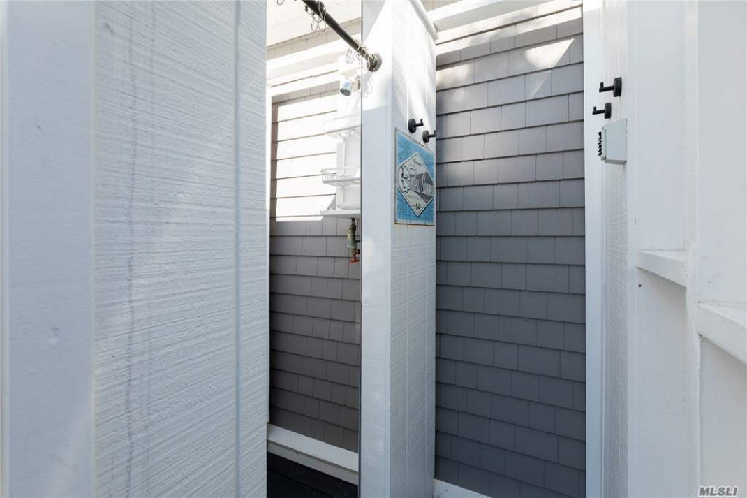 Outdoor shower with dressing room